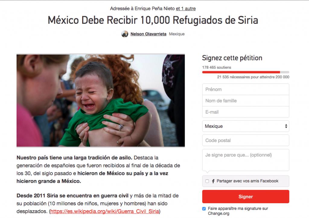 """""""Le Mexique doit accueillir 10 000 réfugiés syriens"""" - La pétition a déjà recueilli plus de 170 000 signatures."""