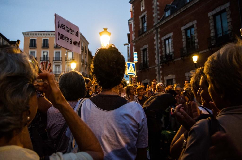 """Un """"concert"""" s'est improvisé durant la manifestation, calle de Atocha. Photo Léa Sanchez pour Radio Londres"""