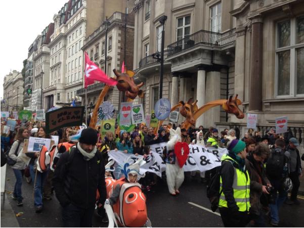 Cortège de la Marche pour le climat à Londres. Photo : Tamara Bouhl.